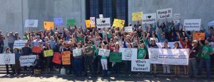 Over 150 farmers, ranchers, and local food advocates on the State Capitol Steps in March 2015, raising our voices on behalf of Oregon's family farmers.